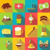 Switzerland travel icons set flat style