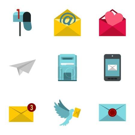 Communication icons set, flat style