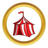 Medieval knight tent vector icon in golden circle cartoon style isolated on white background