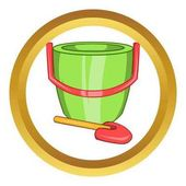 Children bucket with shovel vector icon
