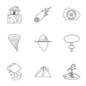 Natural catastrophe icons set Outline illustration of 9 natural catastrophe vector icons for web