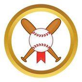 Baseball with bats vector icon