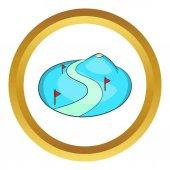 Lyžařské sjezdovky snow mountain vektorové ikony