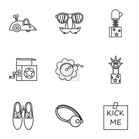 Illustration for Funny joke icons set. Outline illustration of 9 funny joke vector icons for web - Royalty Free Image