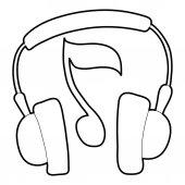 Earphones icon outline style