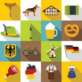 Germany icons set flat style