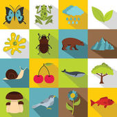 Nature items icons set Flat illustration of 16 nature items vector icons for web