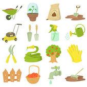 Gardener tools icons set cartoon style