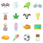 Netherland travel icons set cartoon style