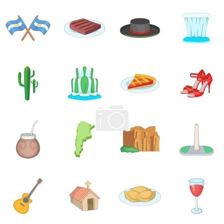 Illustration for Argentina travel icons set. Cartoon illustration of 16 Argentina travel vector icons for web - Royalty Free Image