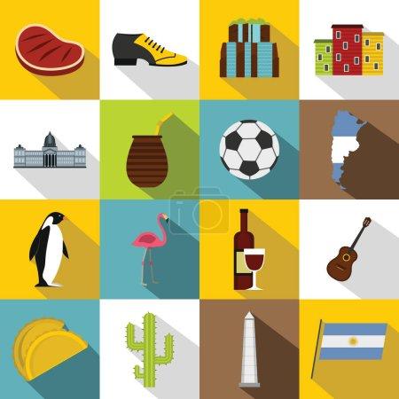 Argentina travel items icons set, flat style