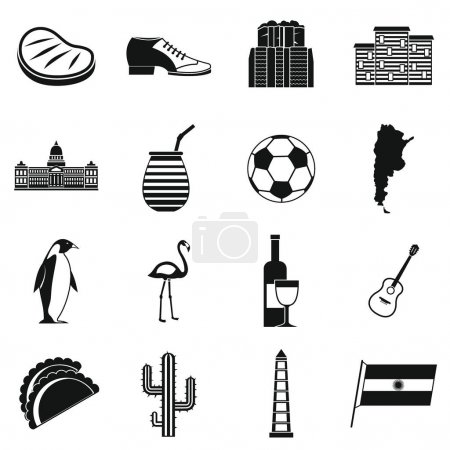 Illustration for Argentina travel items icons set. Simple illustration of 16 Argentina travel items vector icons for web - Royalty Free Image