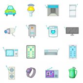 Smart home system icons set cartoon style