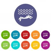 Scuba diver man in diving suit set icons in different colors isolated on white background