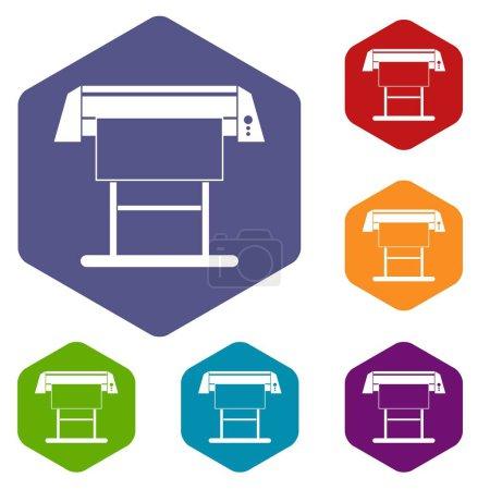 Large format inkjet printer icons set
