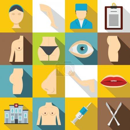 Plastic surgeon icons set, flat style