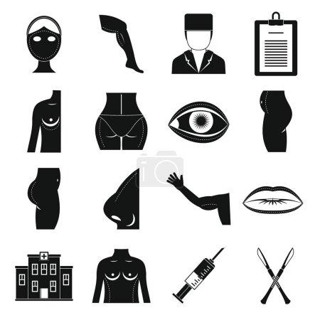 Plastic surgeon icons set, simple style