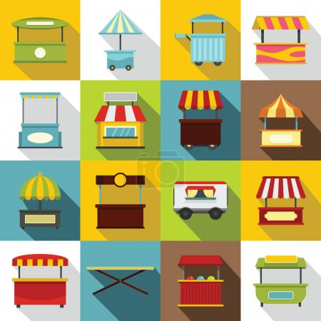 Street food truck icons set, flat style