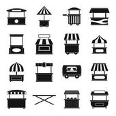 Street food truck icons set simple style