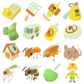 Pest control terminate icons set cartoon style