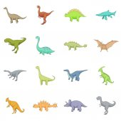 Different dinosaurs icons set cartoon style