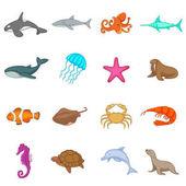 Ocean inhabitants icons set cartoon style