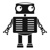 Robot with big eyes icon, simple style