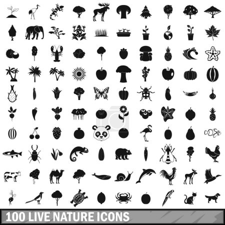 100 live nature icons set in simple style