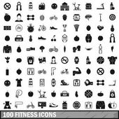 100 fitness icons set in simple style