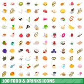 100 food and drinks icons set in isometric 3d style for any design vector illustration