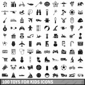 100 toys for kids icons set simple style
