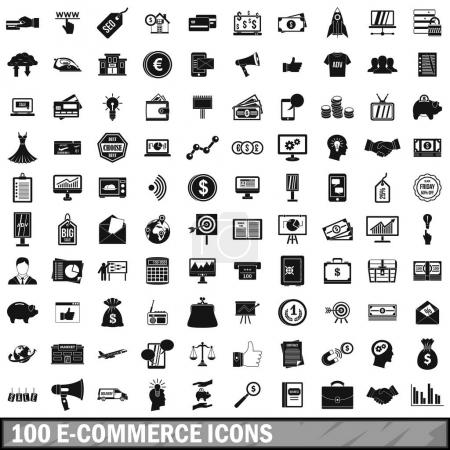 100 e-commerce icons set, simple style
