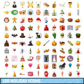 100 holiday  icons set cartoon style