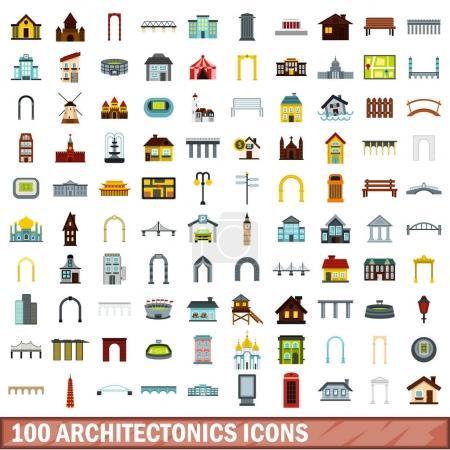 100 architectonics icons set, flat style