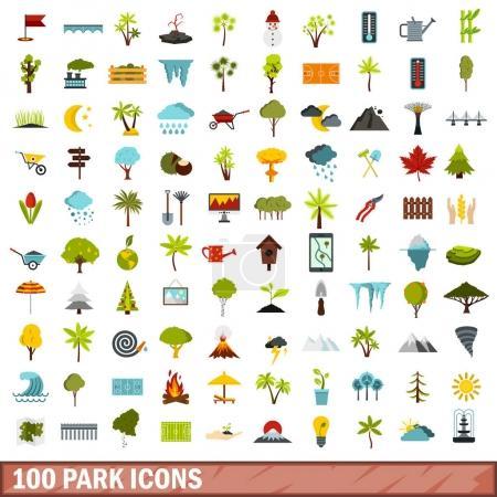 100 park icons set, flat style