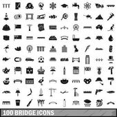 100 bridge icons set simple style