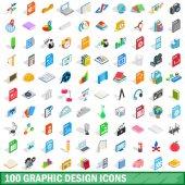 100 graphic design icons set isometric 3d style