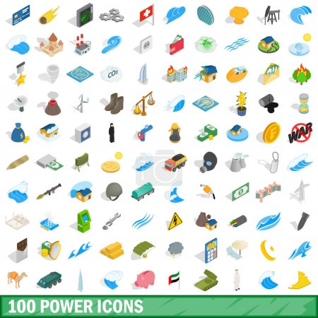 100 power icons set, isometric 3d style
