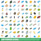 100 power icons set isometric 3d style