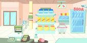 Supermarket horizontal banner cartoon style