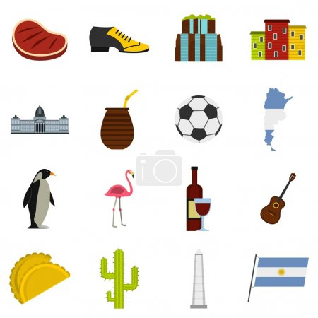 Argentina travel items icons set in flat style