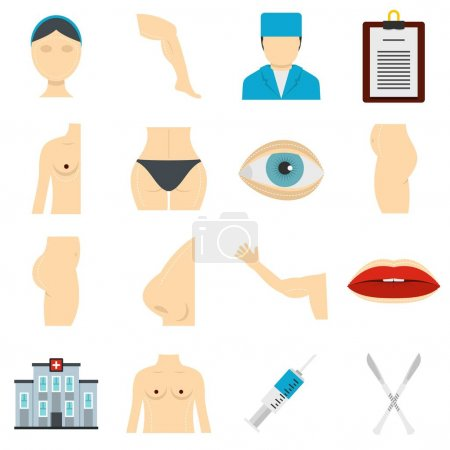 Plastic surgeon icons set in flat style