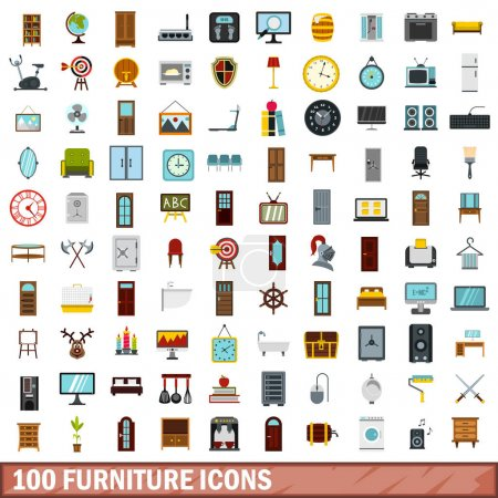 100 furniture icons set, flat style