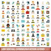 100 social communication icons set flat style
