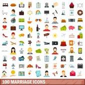 100 marriage icons set flat style