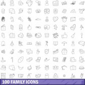 100 family icons set outline style