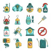 Pest control tools icons set cartoon style