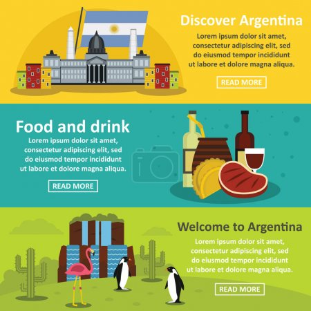 Illustration for Argentina travel banner horizontal concept set. Flat illustration of 3 Argentina travel vector banner horizontal concepts for web. - Royalty Free Image