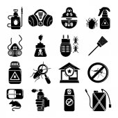 Pest control tools icons set simple style