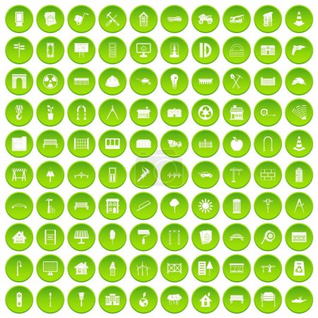 100 architecture icons set green circle